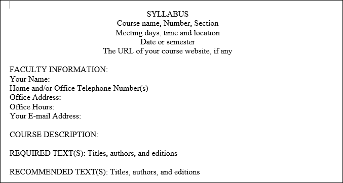 Example of a syllabus