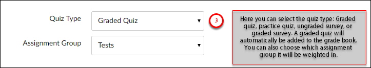 Here you can select the quiz type