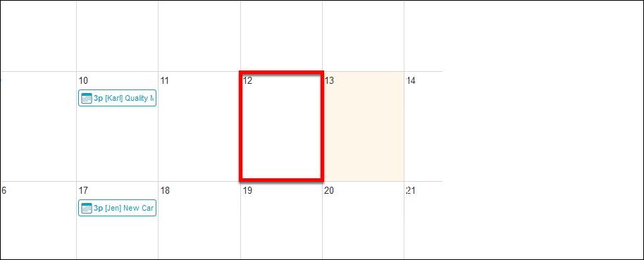 Screenshot of a selected date.