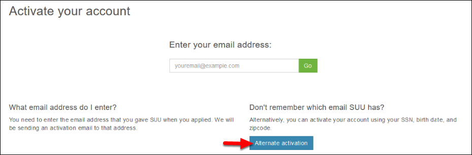 Screenshot of activating your account.