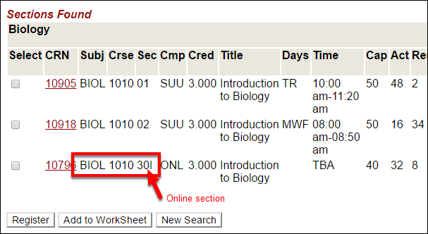Screenshot of an online course in the course search
