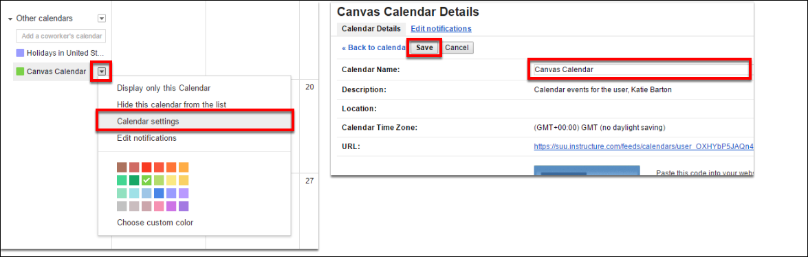 Screenshot of changing the calendar name.