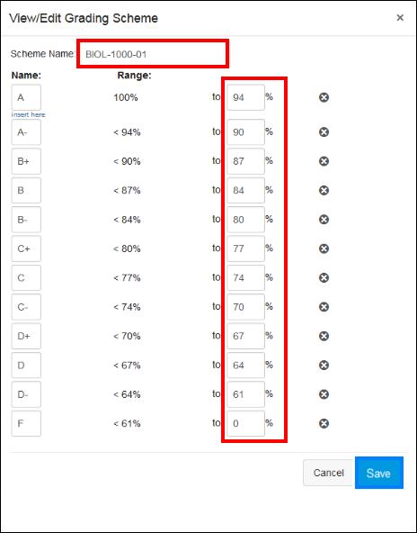Screenshot of creating a grading scheme.