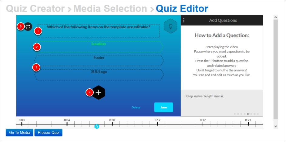 Screenshot of creating a quiz question.