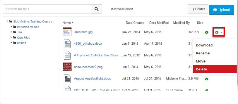 Screenshot of deleting a file.