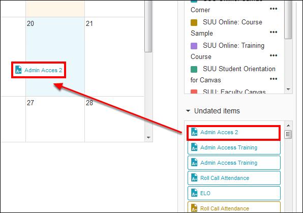 Screenshot of dragging a date to the calendar.