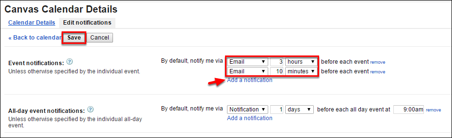 Screenshot of editing the notification settings.