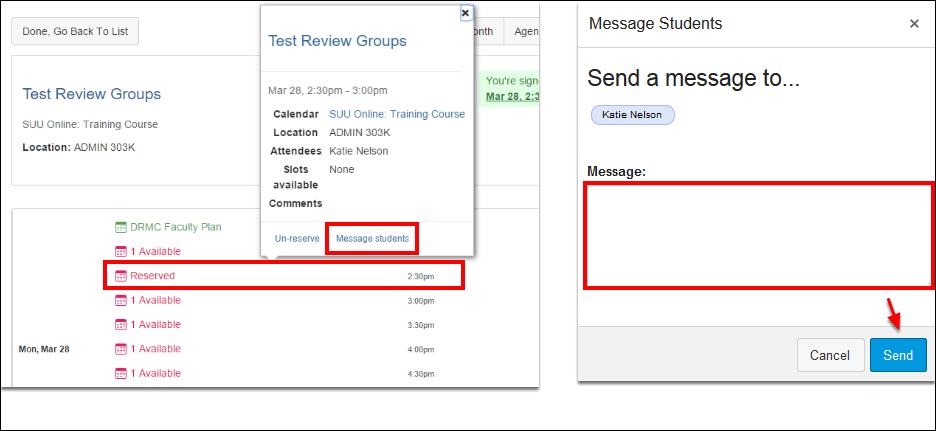 Screenshot of messaging students.