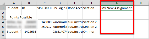 Screenshot of naming the assignment.