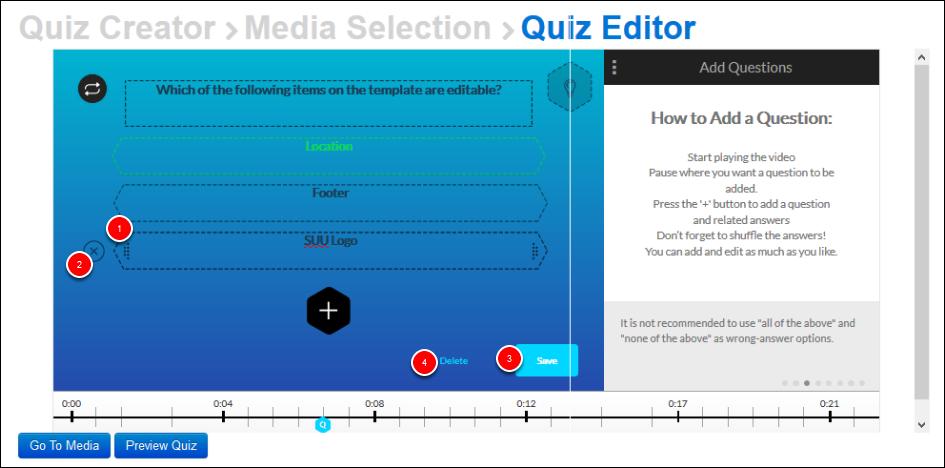 Screenshot of saving the question.