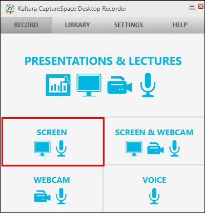 Screenshot of selecting SCREEN.