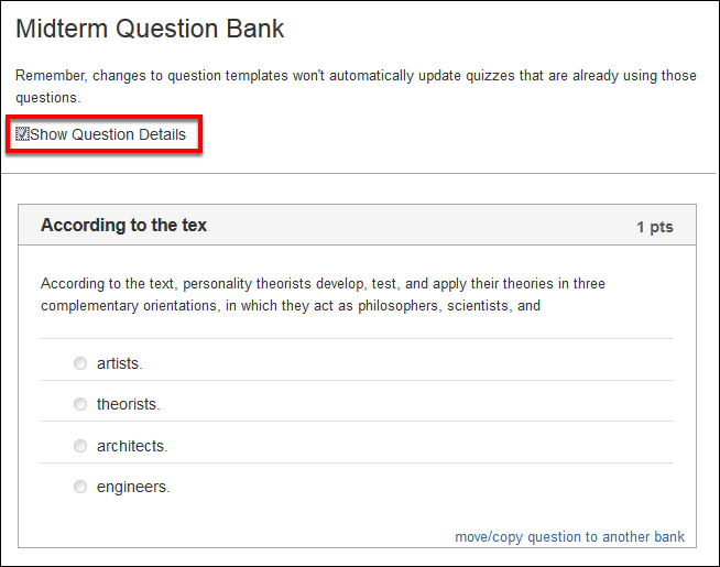 Screenshot of selecting Show Question Details.