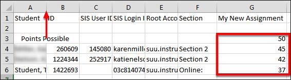 Screenshot of selecting the line between columns.