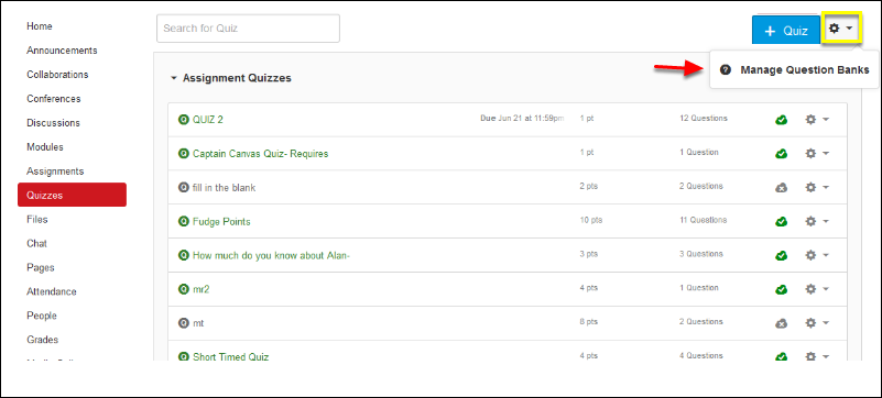 Screenshot of selecting the Manage Question Banks option.