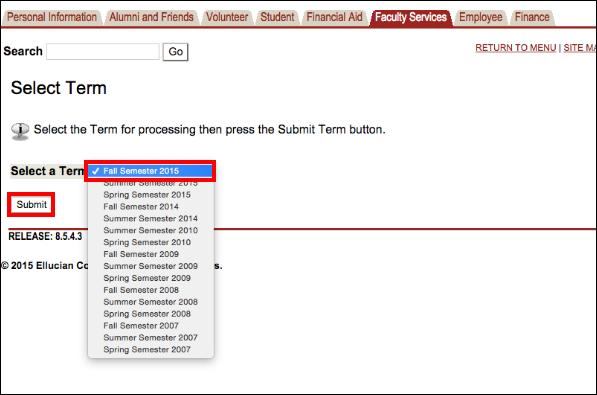 Screenshot of selecting the semester.