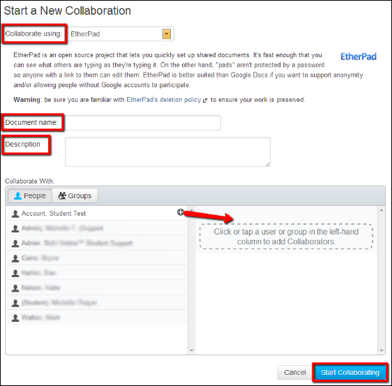 Screenshot of setting up the EtherPad collaboration.