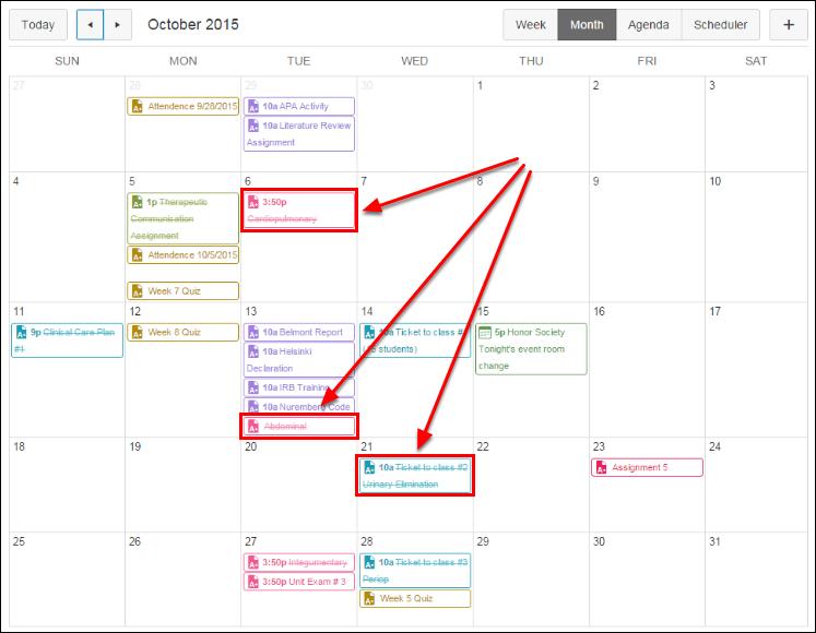 Screenshot of struck-out dates.