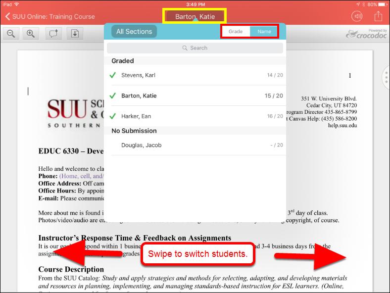 Screenshot of switching students.