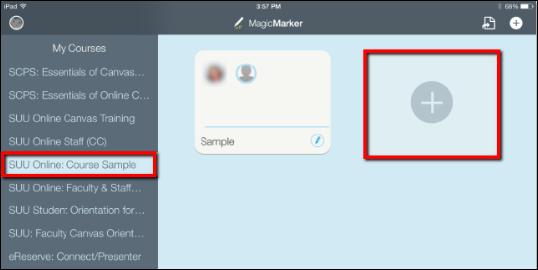 Screenshot of the + button.