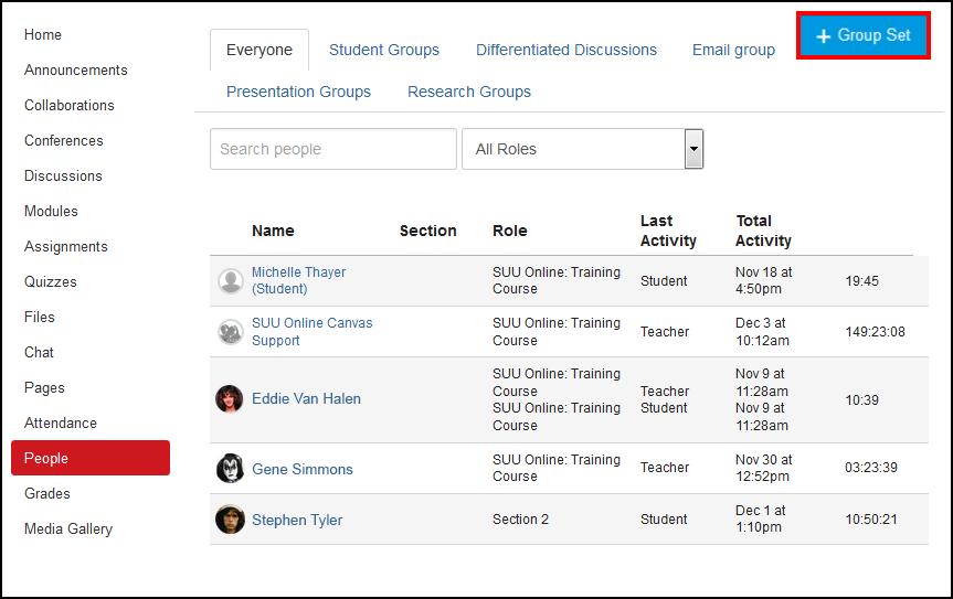 Screenshot of the +Group Set button.