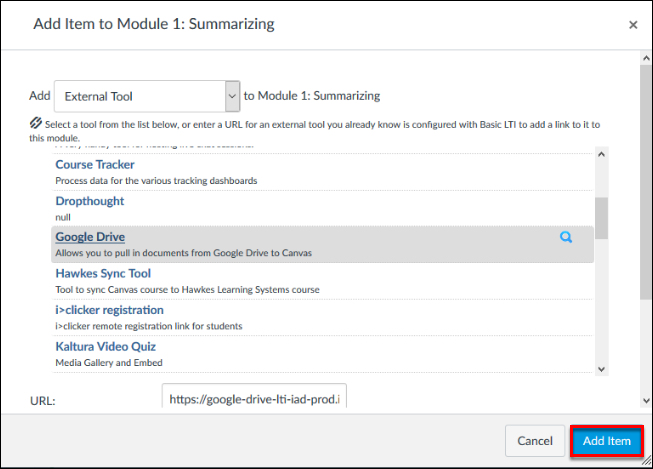 Screenshot of the Add Item button.