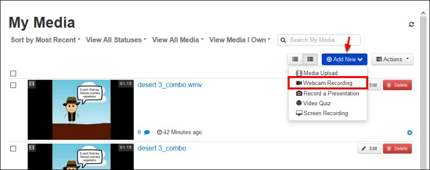 Screenshot of the Add New button.