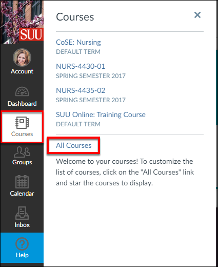 Screenshot of the All Courses link