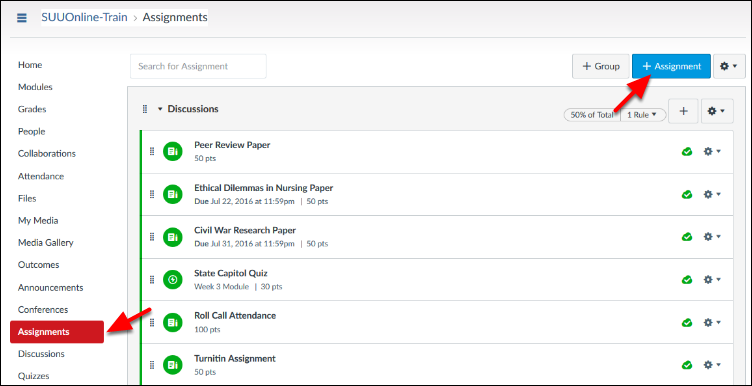 Screenshot of the Assignment button.