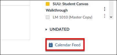 Screenshot of the Calendar Feed button.
