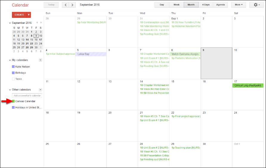 Screenshot of the calendar.
