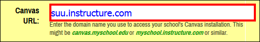 Screenshot of the Canvas URL field.