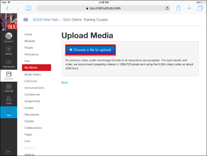 Screenshot of the Choose a file to upload button.