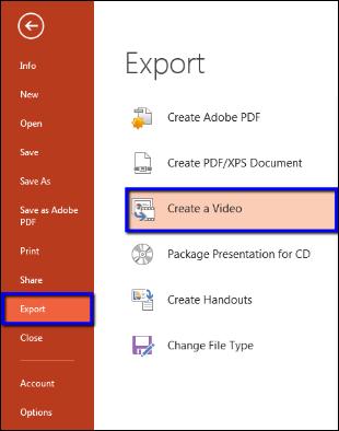 Screenshot of the Create a Video option.