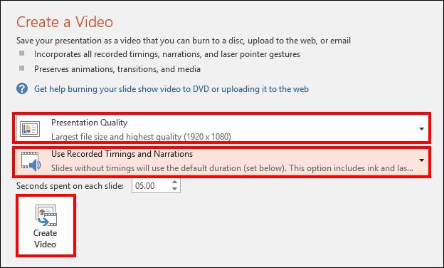 Screenshot of the Create a Video window.