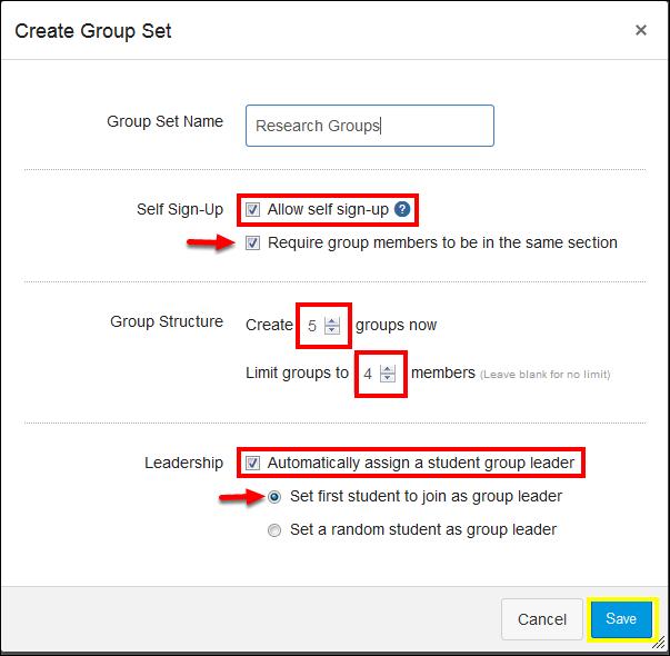 Screenshot of the Create Group Set window.