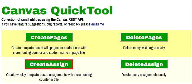 Screenshot of the CreateAssign button.