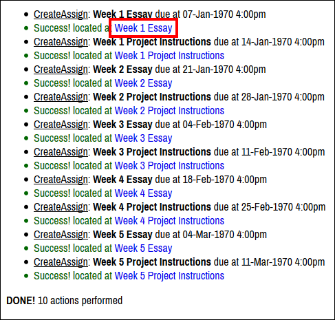 Screenshot of the created assignments.