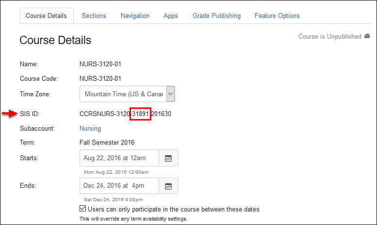 Screenshot of the CRN.