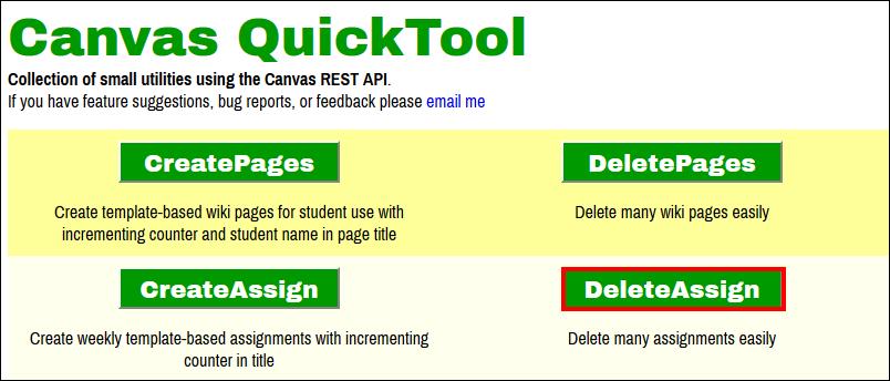 Screenshot of the DeleteAssign button.