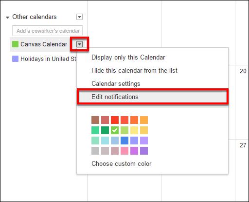 Screenshot of the Edit notifications option.