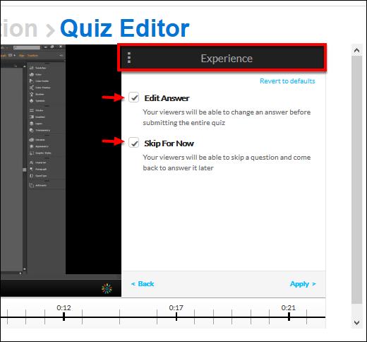 Screenshot of the Experience window.