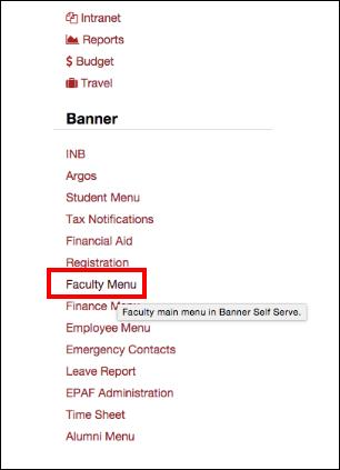 Screenshot of the Faculty Menu link.