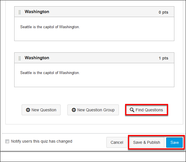Screenshot of the Find Questions button.