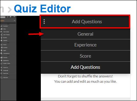 Screenshot of the General option.