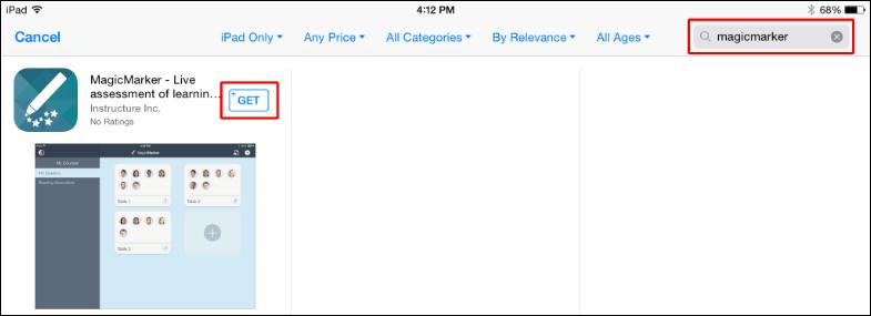 Screenshot of the GET button.