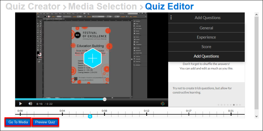 Screenshot of the Go to Media and Preview Quiz buttons.