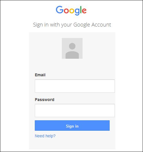Screenshot of the Google login page.