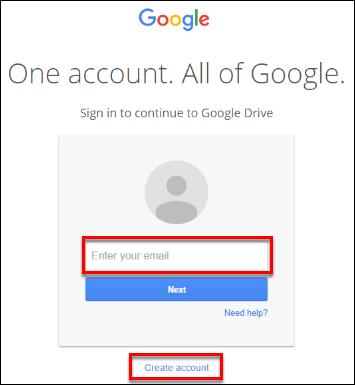 Screenshot of the google login.