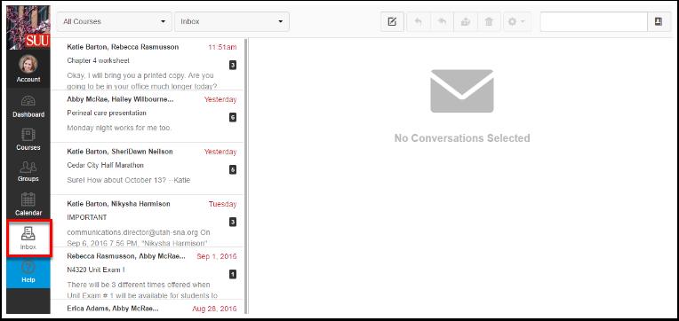 Screenshot of the inbox.