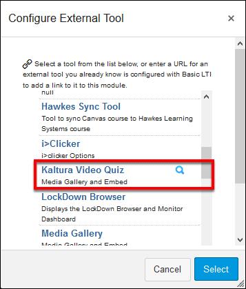 Screenshot of the Kaltura Video Quiz option.